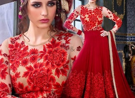 Smart Red Georgette Embroidered Floral Anarkali Salwar Kameez