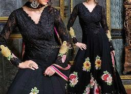 Chic Black Georgette Embroidered Floral Anarkali Dress