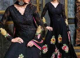 Chic Black Georgette Embroidered Floral Anarkali Dress
