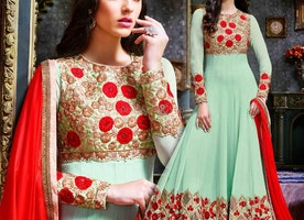 Beautiful Light Green Georgette Embroidered Fancy Anarkali Dress