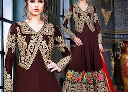 Fashionable Brown Georgette Embroidered Fancy Anarkali Suit