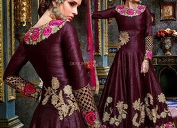 Stylish Purple Georgette Embroidered Long Anarkali For Women