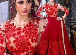 Smart Red Georgette Embroidered Floral Anarkali Salwar Kameez