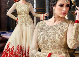 Fascinating Cream Georgette Embroidered Floral Anarkali Suit