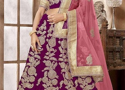 Attractive Magenta Embroidered And Zari Worked Velvet Ghagra Choli For Wedding
