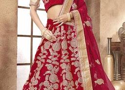Beautiful Red Embroidered And Zari Worked Velvet Lehenga Choli For Wedding