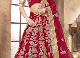Beautiful Red Embroidered And Zari Worked Velvet Lehenga Choli For Wedding