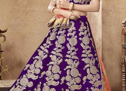 Graceful Purple Embroidered And Zari Worked Velvet Wedding Ghagra Choli
