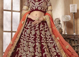 Ingenue Maroon Embroidered And Zari Worked Velvet Wedding Chaniya Choli