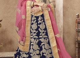 Ineffable Blue Embroidered And Zari Worked Velvet Wedding Lehenga Choli