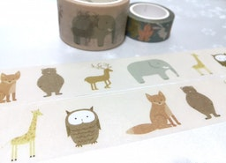 Farm animal washi tape 7M x 3cm Fox deer owl elephant teddy bear sticker tape kids animal party invitation card decor sticker tape gift