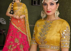 Elegant Red Silk Embroidered Wedding Chaniya Choli For Ladies