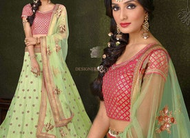 Decent Green Silk Embroidered Wedding Ghagra Choli Online