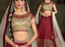 Artistic Wine Silk Embroidered Lehenga Blouse Design For Girls