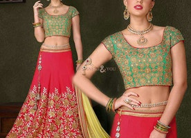 Irresistible Red Silk Embroidered Lehanga Choli For Ladies