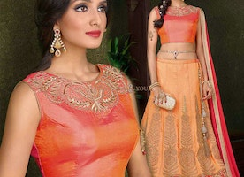 Stunning Peach Silk Embroidered Lahenga Choli For Women