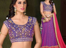 Heavenly Purple Silk Embroidered Chaniya Choli Design Online