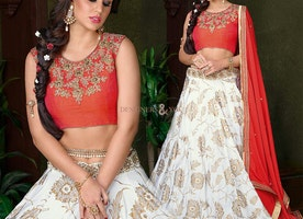 Alluring Off White Silk Embroidered Ghagra Choli Design For Women