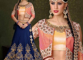 Pretty Blue Silk Embroidered Lehenga Choli Design For Girls