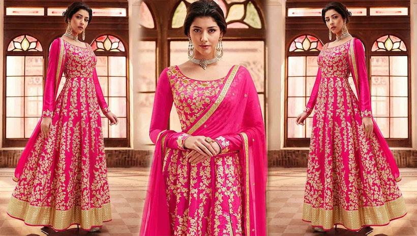 Latest Cape Pattern Anarkali Dress Designs: Indian Party Wear Long ...