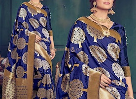 Ingenue Blue Art Silk Printed Simple Sari For Ladies