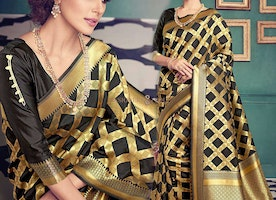 Ineffable Black Art Silk Printed Simple Saree For Ladies