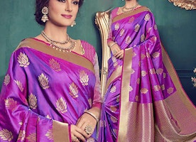 Ravishing Purple Art Silk Printed Daily Wear Sari For Ladies