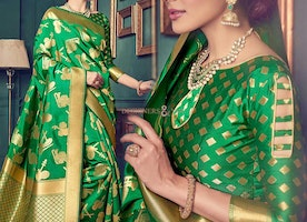 Beautiful Green Art Silk Printed Cheap Sari For Women