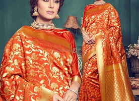 Fashionable Orange Art Silk Printed Daily Wear Saree Online