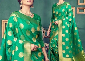 Stylish Green Art Silk Printed Office Wear Saree Online India