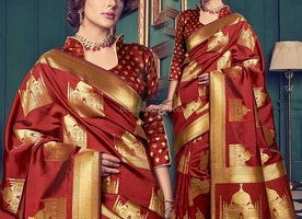 Smart Maroon Art Silk Printed Low Price Saree Online India