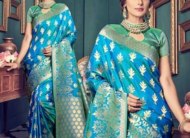 Chic Blue Art Silk Printed Cheap Saree For Indian Women