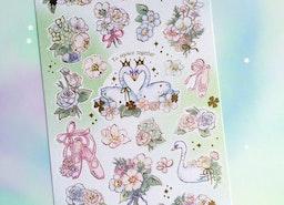 swan love heart sticker Swan in love Swan lake sticker fancy swan ballet dance shoes pink shoes swan princess white rose sticker paper gift