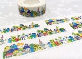 colorful house washi masking tape 10M fairy tale house City scenes little house city landscape city scenes sticker tape housewarming decor