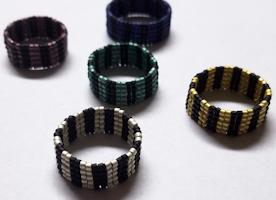The Burton Rings - Handbeaded by Nox Felis Designs