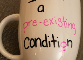 I am a pre-existing condition custom mug health care bill trumpcare survivor present friend gift American Health Care Act