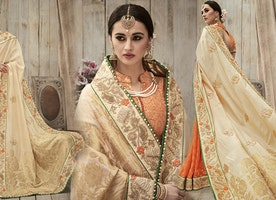Wedding Sarees Collection of Designer Sari Online: Indian Engagement Saree Blouse Designs For Dulhan