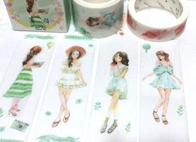 summer girl green tones washi tape 5M x 3cm lovely girl teen girl pretty Japanese comic girl wide masking tape girl diary planner sticker