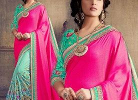Divine Pink And Green Embroidered Art Silk Modern Half Sari