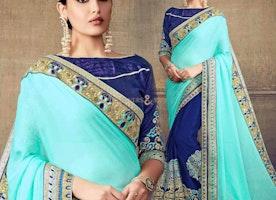 Beautiful Green And Blue Embroidered Chiffon Half Saree Blouse