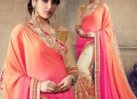 Attractive Orange And Cream Embroidered Satin And Georgette Half Sari Blouse
