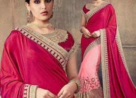 Ravishing Peach And Maroon Embroidered Art Silk And Net Indian Half Sari