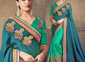 Ineffable Green And Blue Embroidered Art Silk Half And Half Sari