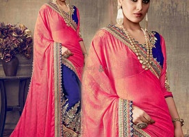 Ingenue Blue And Pink Embroidered Chiffon And Georgette Indian Half Saree