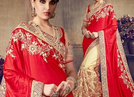 Graceful Red And Cream Embroidered Art Silk And Net Indian Half Sari