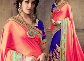 Beautiful Pink And Blue Embroidered Art Silk And Georgette Half Saree Online