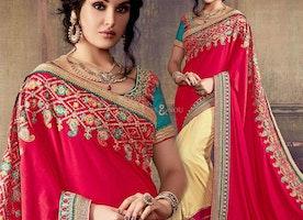 Attractive Red And Cream Embroidered Art Silk Half Sari Online