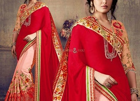 Engaging Peach And Red Embroidered Chiffon And Georgette Half Saree Design