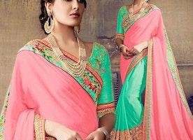 Ravishing Green And Peach Embroidered Chiffon And Georgette Half Sari Design