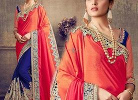 Ineffable Blue And Orange Embroidered Chiffon And Art Silk Latest Half Saree
